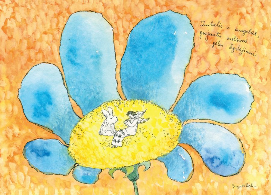 AD38/127 Zuikelis ir angelas, grojantis melsvos gėlės žydėjimui