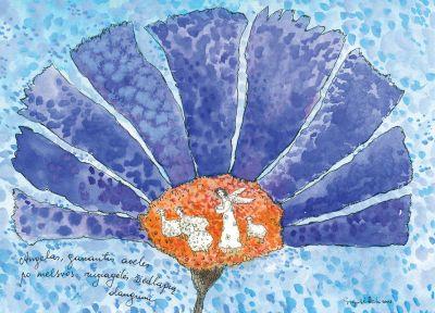 AD43/127 Angelas, ganantis aveles po melsvos rugiagėlės žiedlapių dangumi
