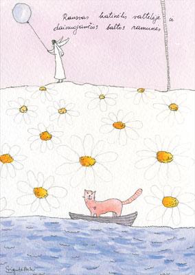 AM133/127 Rausvas katinėlis valtelėje ir dainuojančios baltos ramunės