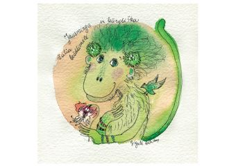 Emotional and Creative Little Green Monkey
