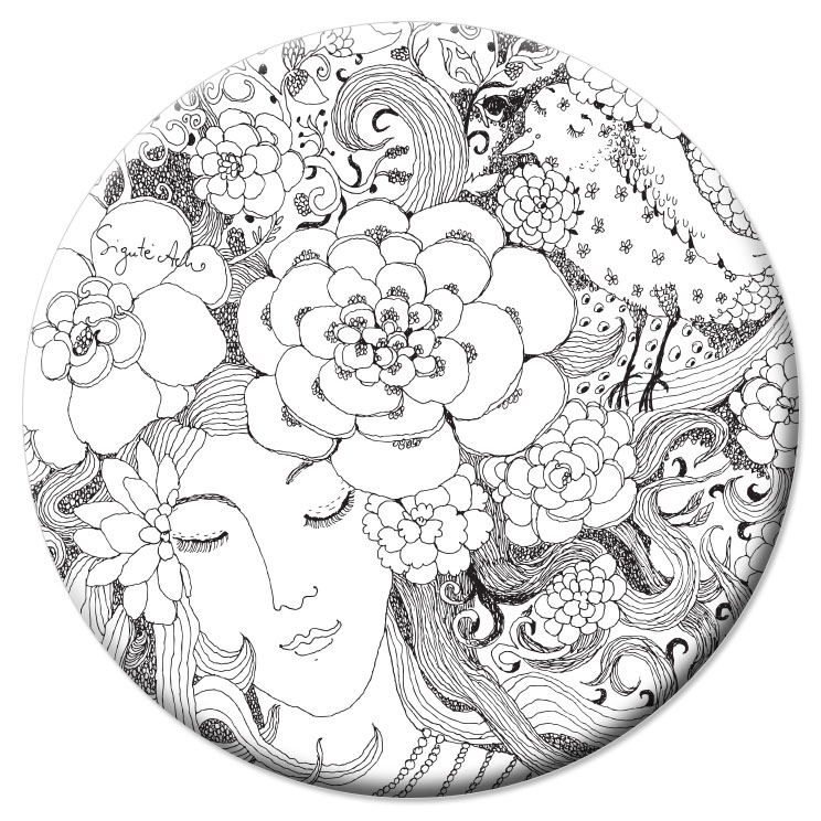 VD37 Veidrodėlis Mergina ir gėlės