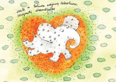 AM124/387 Meilė ir žaliuose svajonių debesėliuose skriejantis drambliukas