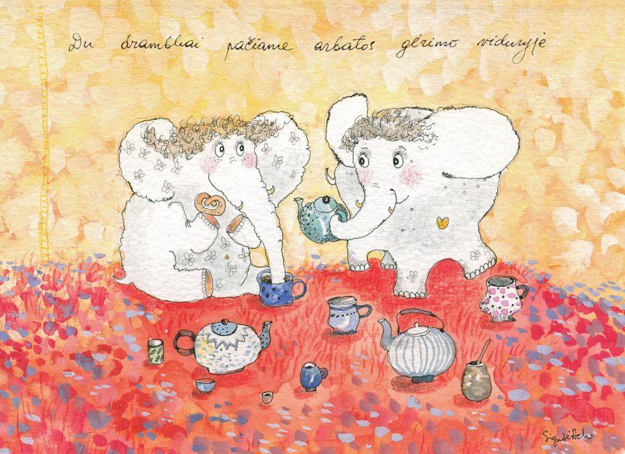 AD54/127 Du drambliai pačiame arbatos gėrimo viduryje
