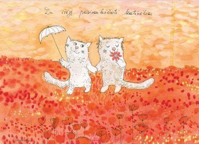AD59/127 Du išėję pasivaikščioti katinėliai