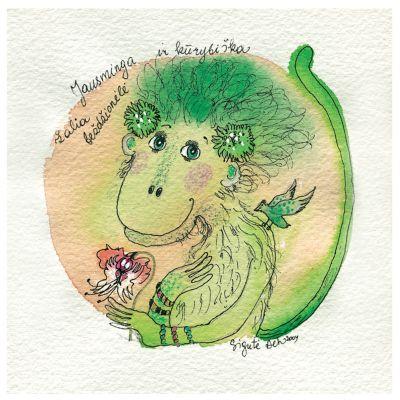 Jausminga ir kūrybiška žalia beždžionėlė