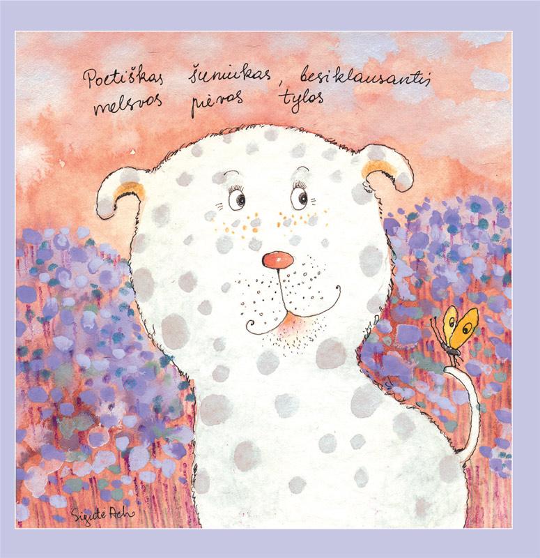 Poetiškas šuniukas, besiklausantis melsvos pievos tylos