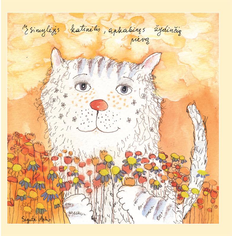 Įsimylėjęs katinėlis, apkabinęs žydinčią pievą