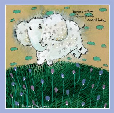 Pavasariškai šokinėjantis drambliukas