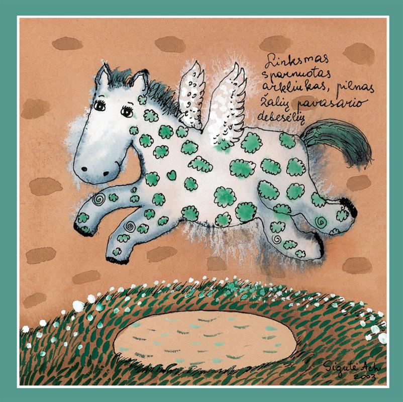 Linksmas sparnuotas arkliukas, pilnas žalių pavasario debesėlių