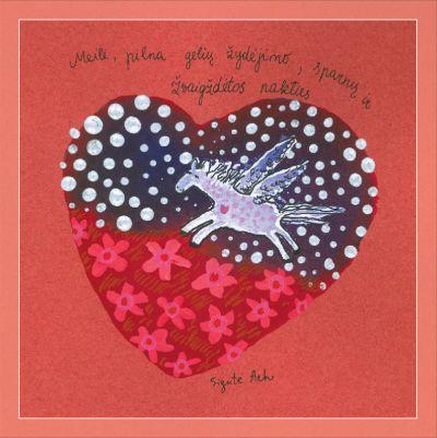 Meilė, pilna gėlių žydėjimo, sparnų ir žvaigždėtos nakties