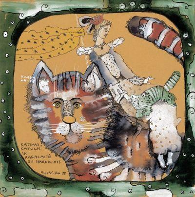 Katinas, katulis ir karalaitė su sparneliais