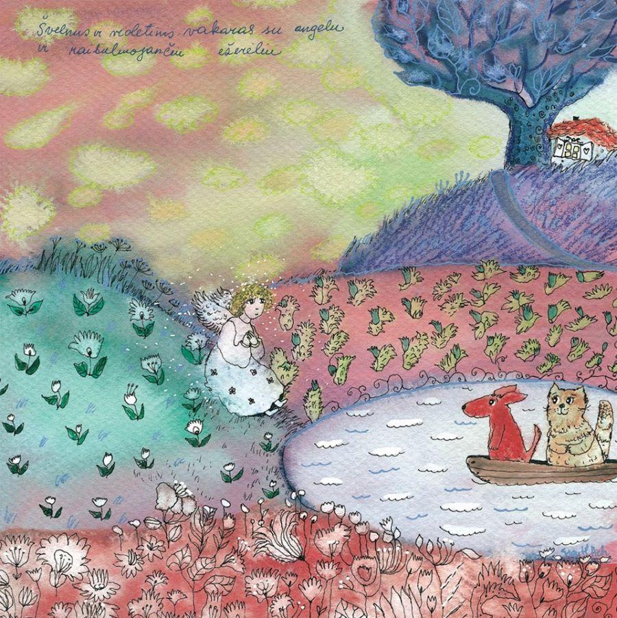 Švelnus ir violetinis vakaras su angelu ir raibuliuojančiu ežerėliu